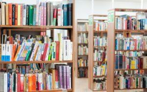 図書館で専門的な冊子を見てリサーチをする